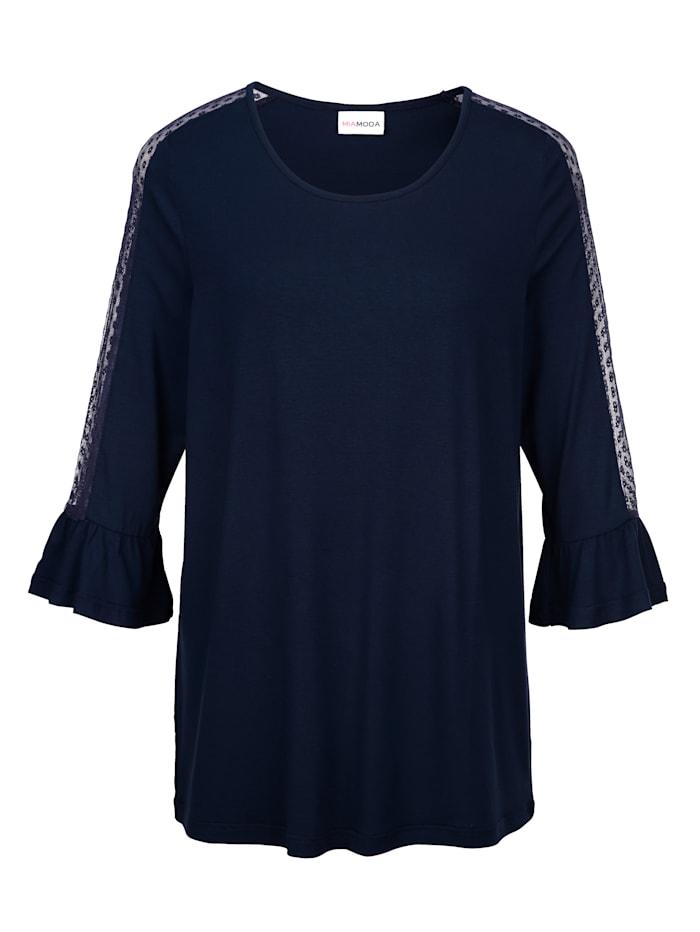 Shirt mit Spitzeneinsatz an Ärmeln und Schultern