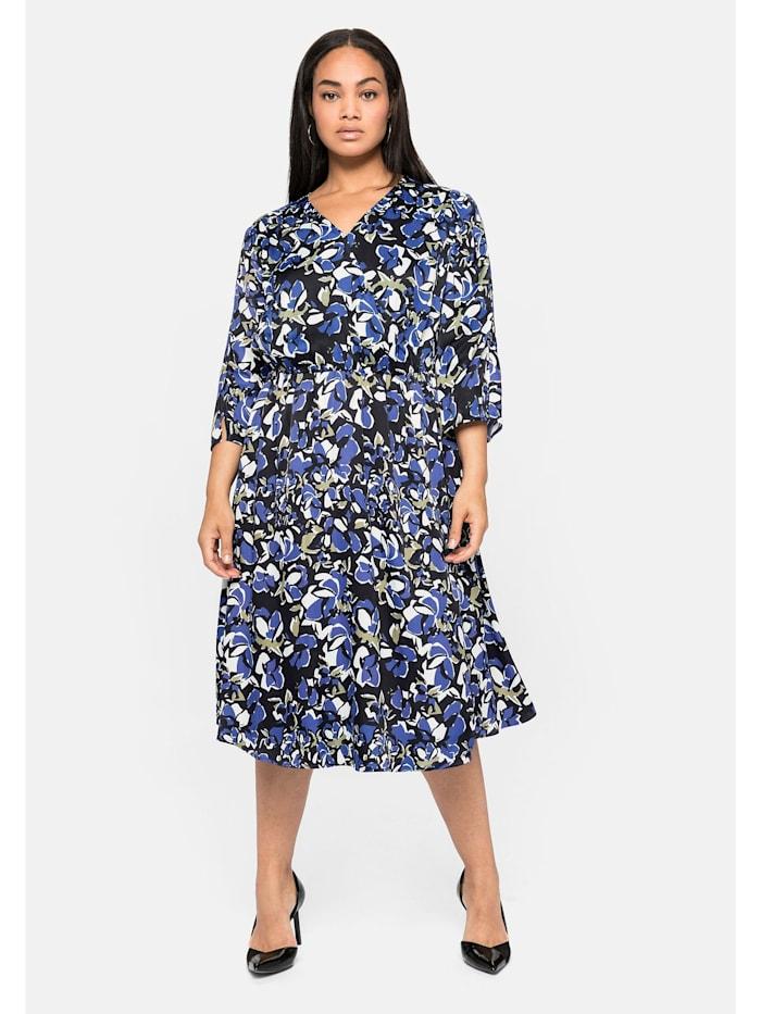 Sheego Kleid aus dezent schimmernder Viskose, royalblau