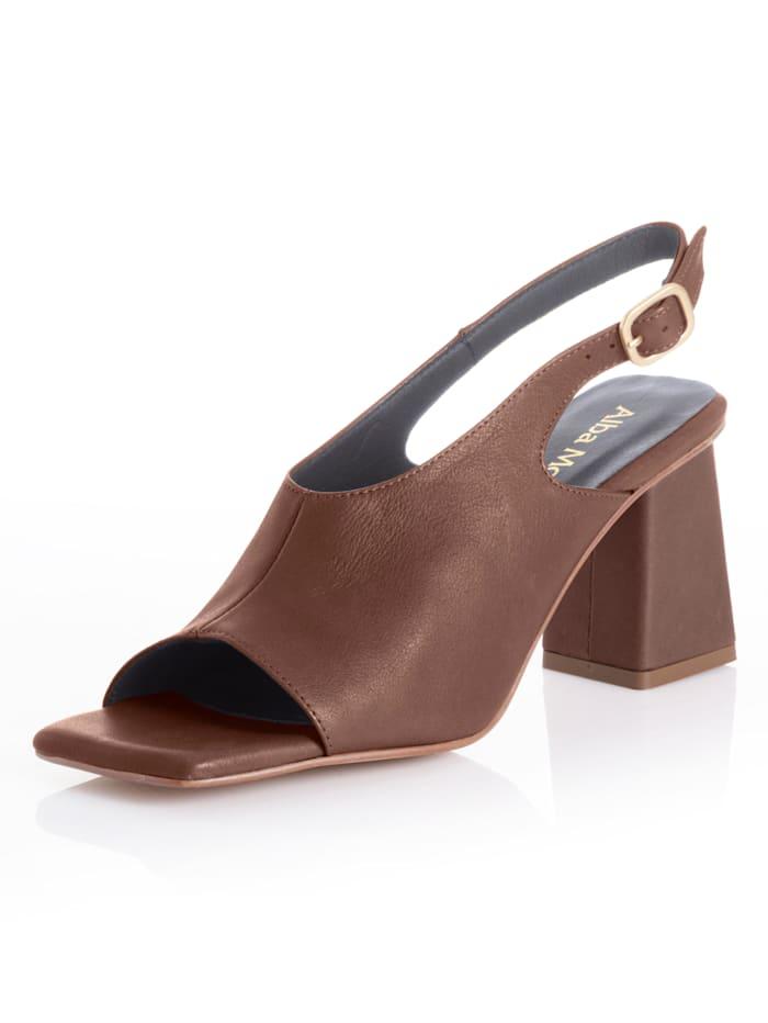 Alba Moda Sandalette mit ausgeprägtem Carrée, Braun