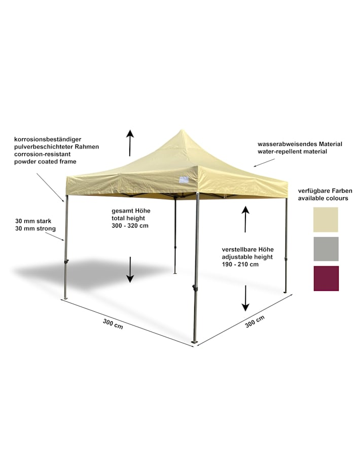 Faltpavillon Modena 3x3m beige  extra starkes Gestell
