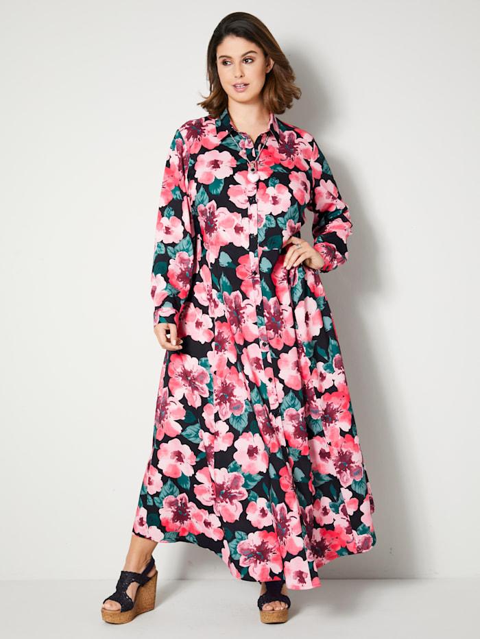 Sara Lindholm Maxi-jurk met doorknoopsluiting, Zwart/Salie/Rood