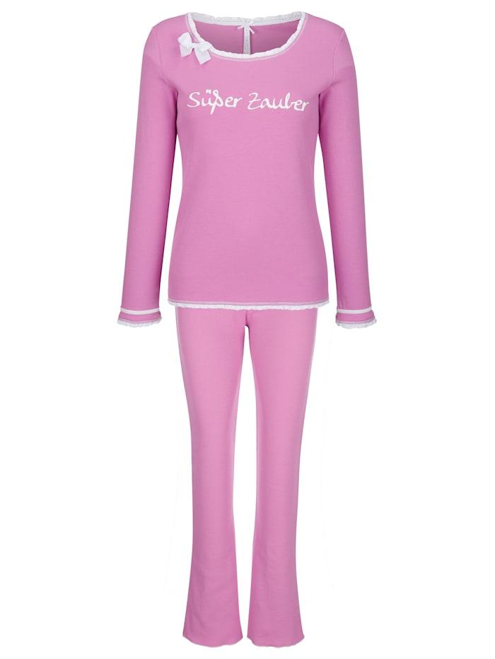Louis & Louisa Pyjama avec détails romantiques en dentelle et noeud en satin, Rose vif/Blanc