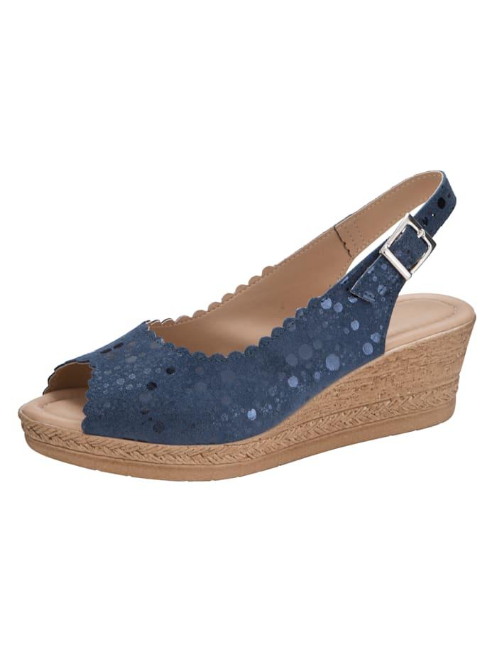 Sandaletter med kilklack och skimrande yta, Mörkblå
