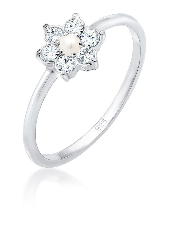 Elli Premium Ring Blume Floral Perle Swarovski® Kristalle 925 Silber, Silber