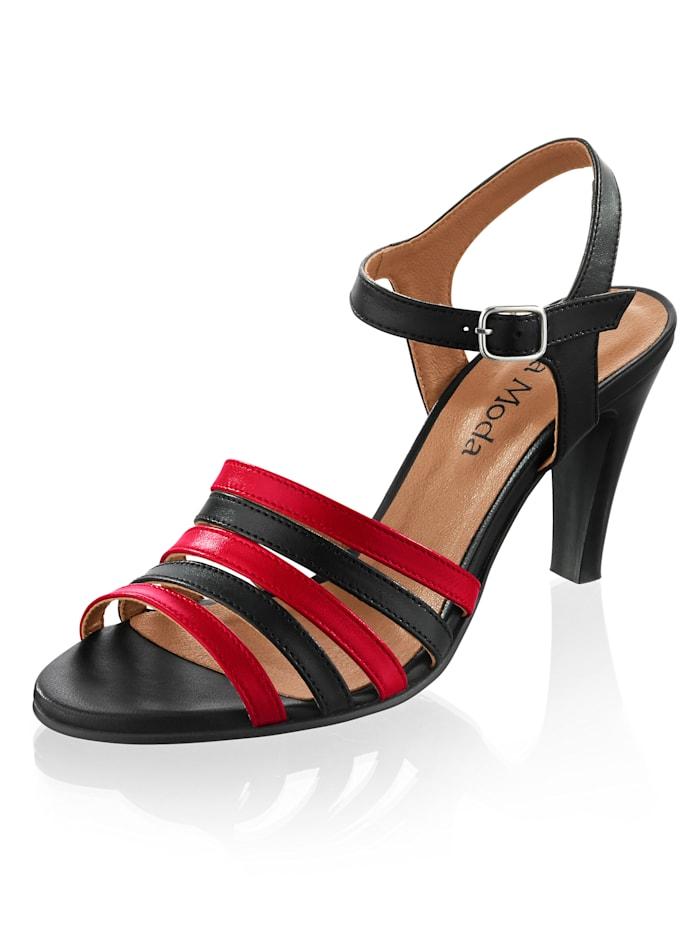 Alba Moda Sandalette in kontrastiger Zweifarbigkeit, Schwarz/Rot