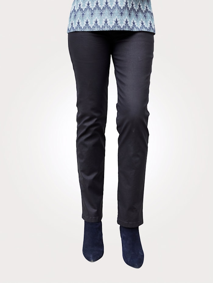 Toni 5-Pocket-Hose in Leder-Optik, Marineblau