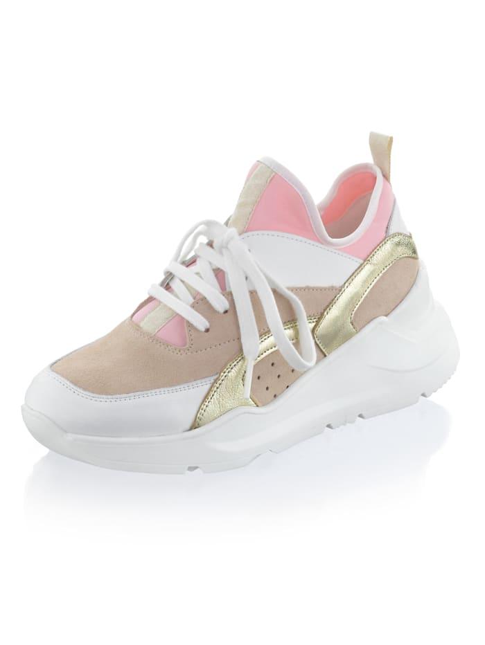 Alba Moda Sneaker met chunky zool, Wit/Beige/Roze