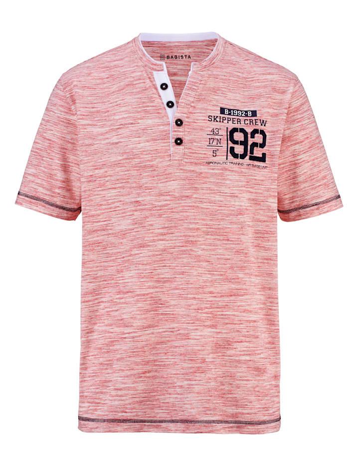 BABISTA Henley tričko s vzhledem dvojitého límce, Korálová