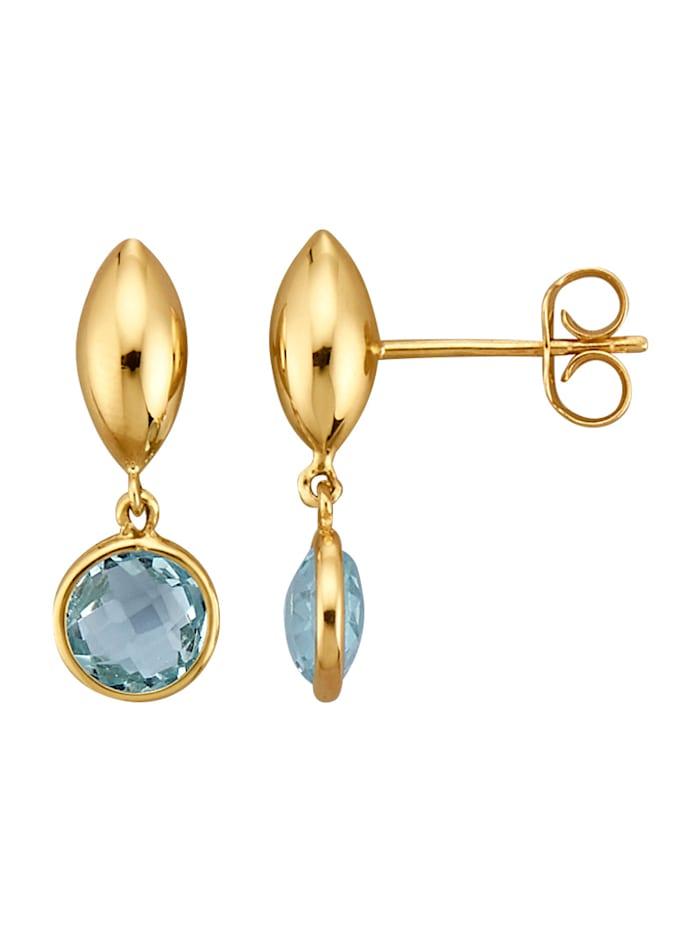 Ohrringe mit 2 Blautopasen, Blau