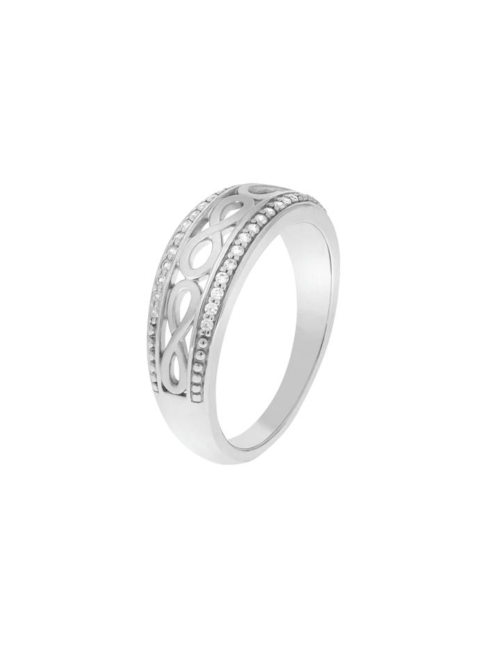 ZEEme Ring 925/- Sterling Silber Zirkonia weiß Matt/Glanz, weiß