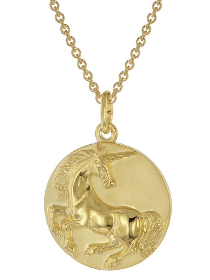 trendor Halskette mit Einhorn-Anhänger Gold auf Silber 925, Goldfarben