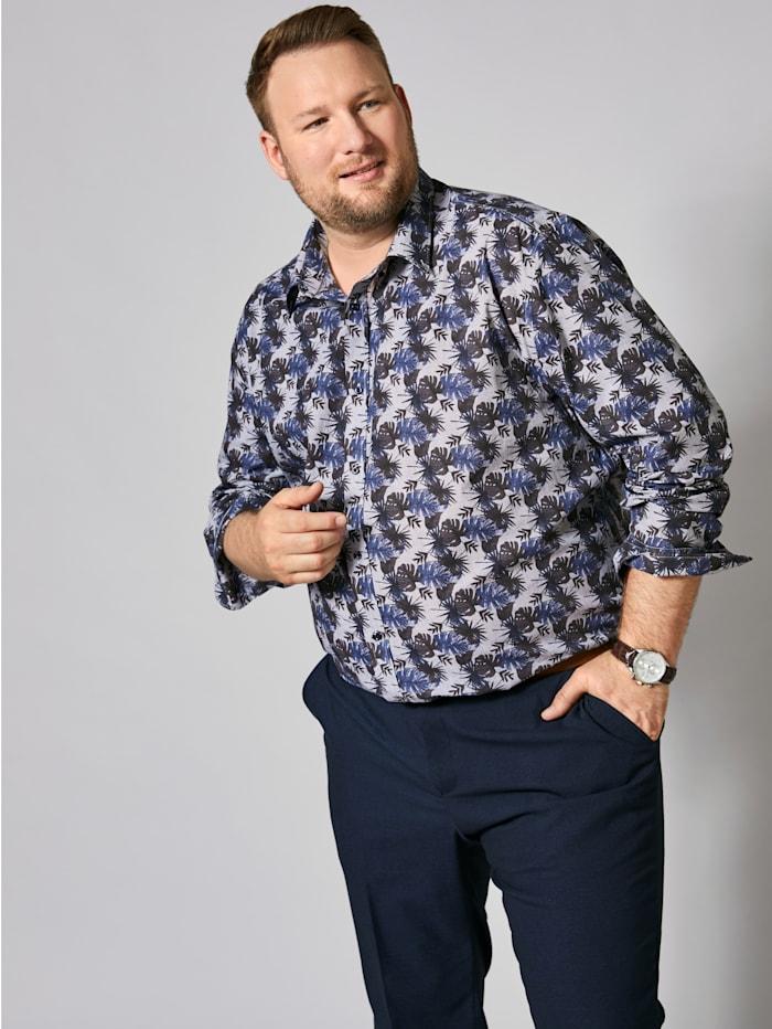 Men Plus Hemd mit modischem Druck, Grau/Marineblau