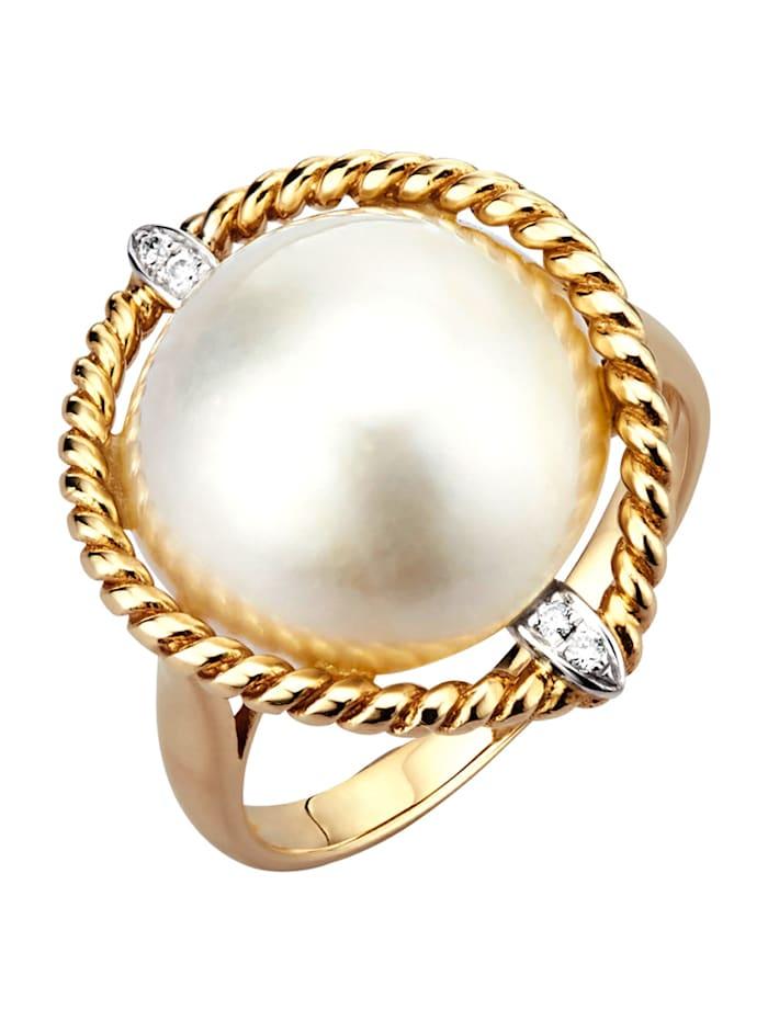 Diemer Perle Damenring mit Mabé-Zuchtperle, Weiß