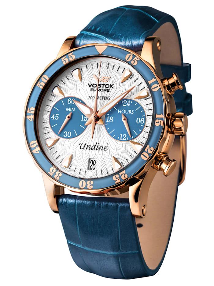 Vostok Europe Damen-Chronograph mit 3 Armbändern, Silberfarben