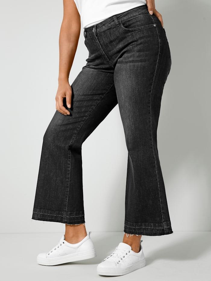 Angel of Style Bootcut-Jeans mit offenem Saum, Black