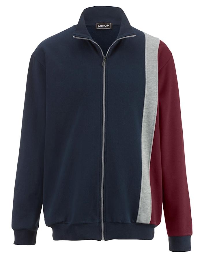 Men Plus Veste molletonnée à color block tendance, Marine/Bordeaux