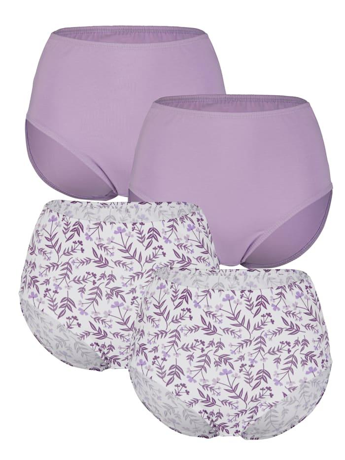 Harmony Tailleslips met leuke bloemenprint, Lila/Wit