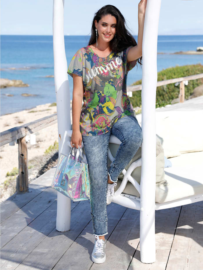 MIAMODA Shirt mit Schriftzug, Multicolor