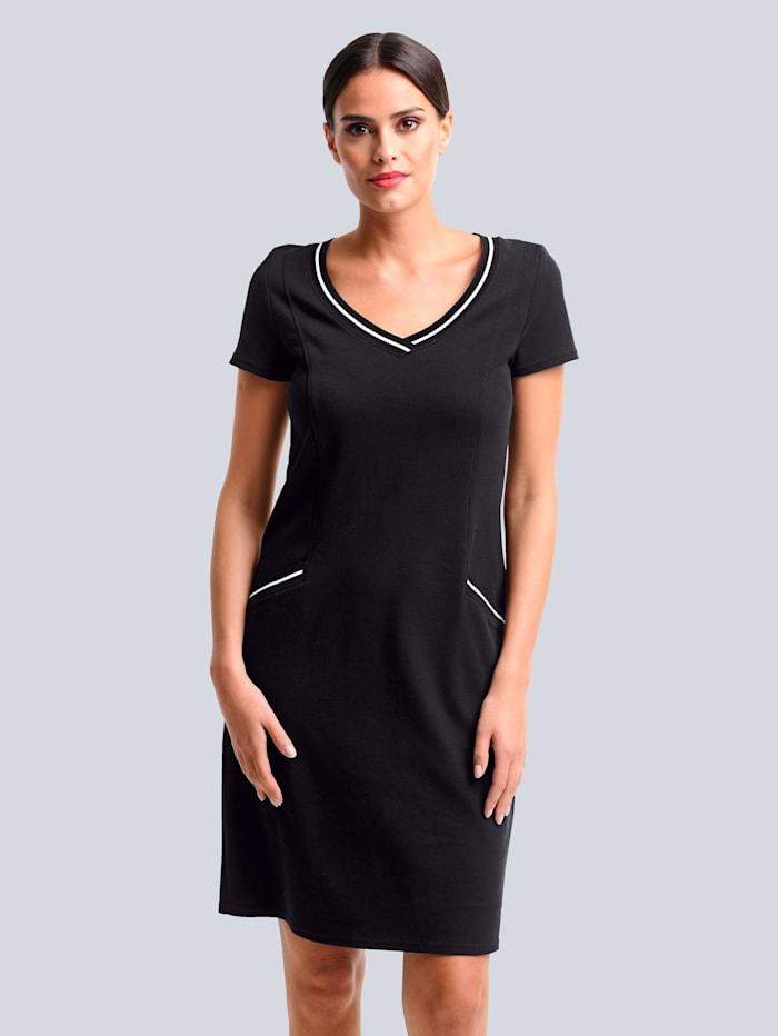 Alba Moda Jerseykleid aus hochweriger Piquée-Qualität, Schwarz/Weiß