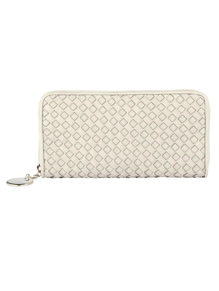 Taschenherz Geldbörse in schöner Flechtoptik, Creme-Weiß