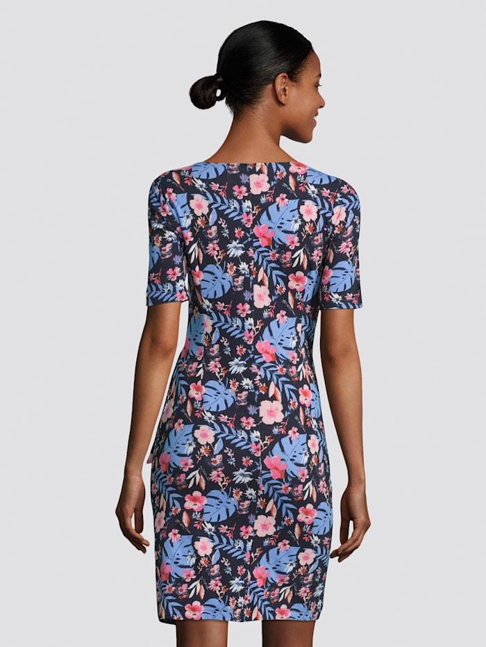 Jerseykleid mit Blumenprint und Knotendetail