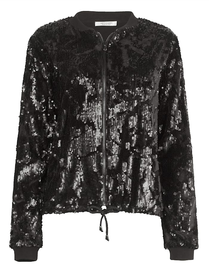 Bomber jacket with shimmering sequins