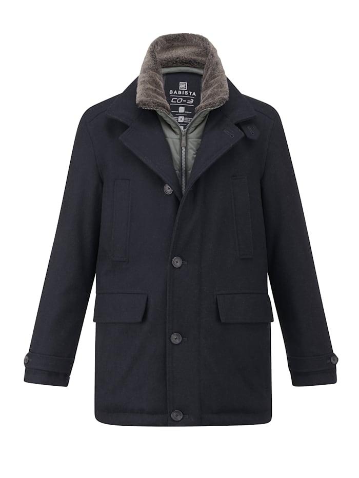 Babista Premium Manteau en laine à technologie CO-3, Marine