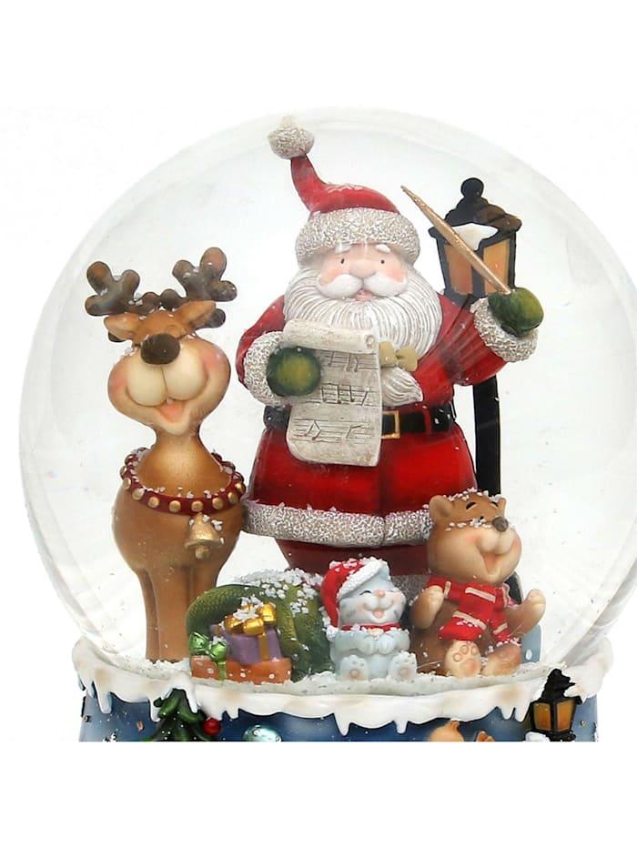 Sigro Schneekugel XXL Santa mit lustigem Elch, Bunt