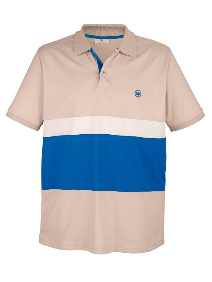 Boston Park Poloshirt met contrastkleurige inzetten, Zand/Royal blue/Ecru