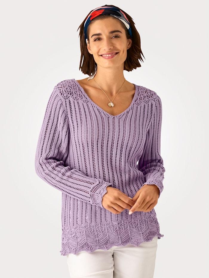 MONA Trui van transparant ajourbreiwerk, Lavendel