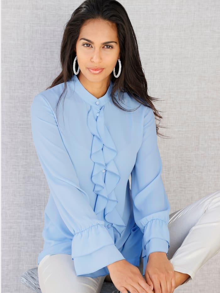 AMY VERMONT Bluse mit Rüschen, Blau