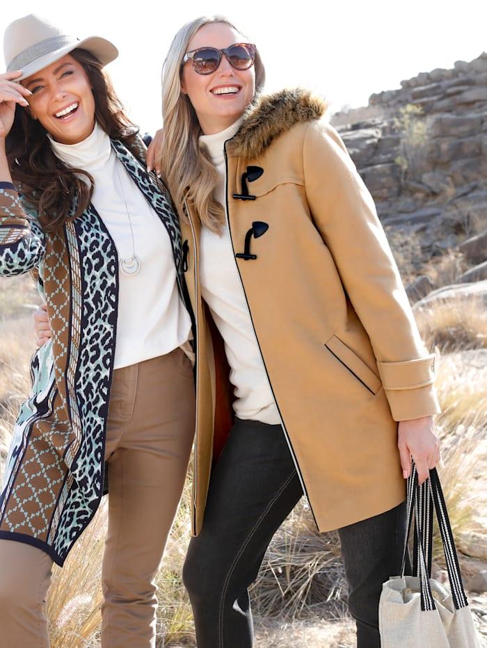 MIAMODA Duffle-coat avec capuche en fourrure synthétique, Camel