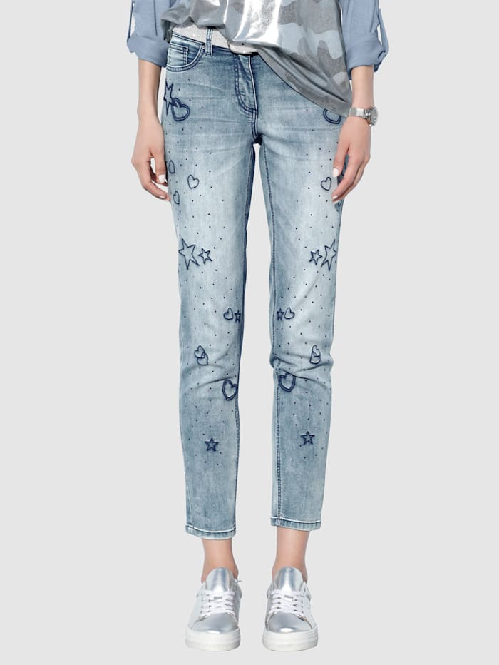 AMY VERMONT Jeans med strass, Blue bleached