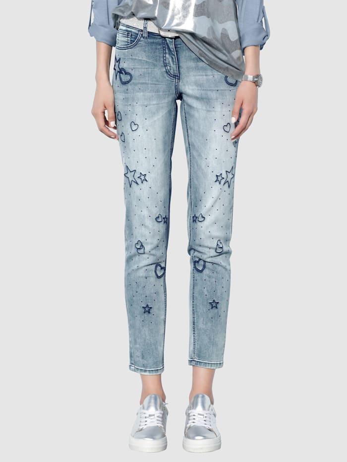 AMY VERMONT Jeans mit Strasssteindekoration, Blue bleached