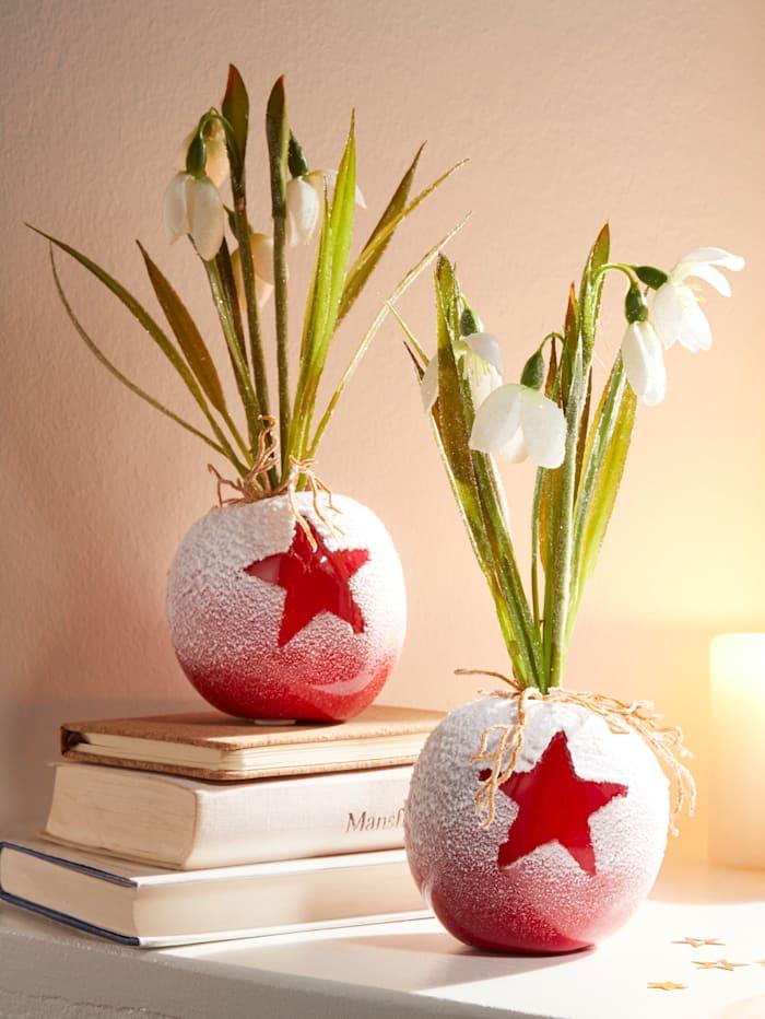 Creativ Deco Konstgjorda snödroppar i äppelformade vaser, Röd