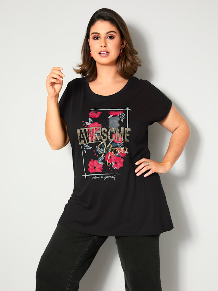 Sara Lindholm T-shirt à paillettes appliquées, Noir