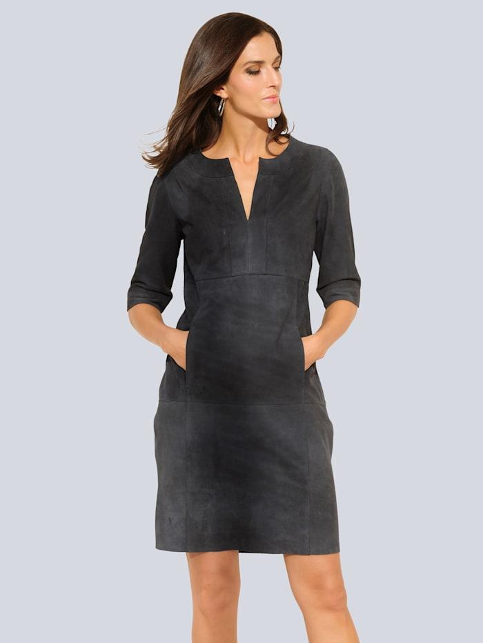Alba Moda Kleid aus Veloursleder, Marineblau