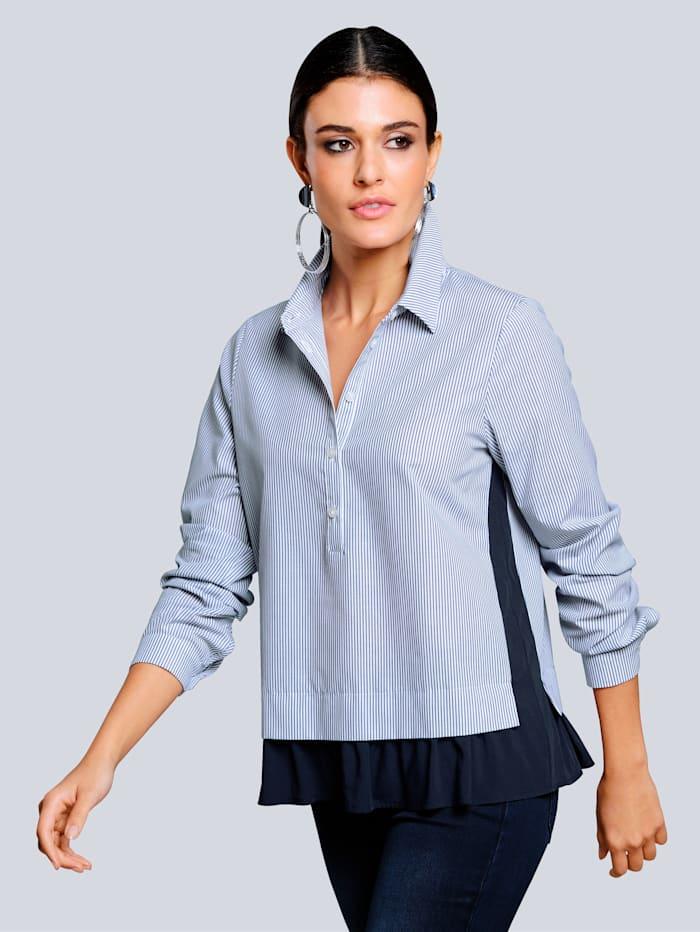Alba Moda Bluse im Streifendessin, Marineblau/Weiß