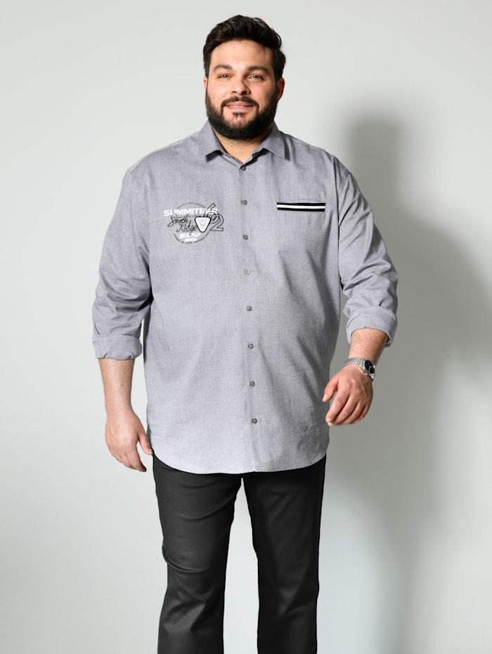 Men Plus Hemd Spezialschnitt, Grau/Weiß