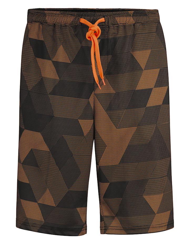 Men Plus Shorts i materiale som tørker raskt, Svart/Neonoransje