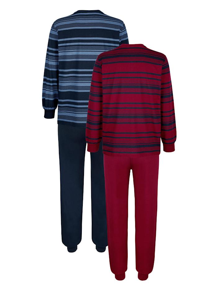 Schlafanzüge mit garngefärbtem Streifen