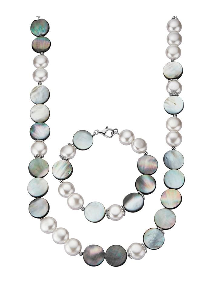 Diemer Perle 2tlg. Schmuck-Set mit Muschelkernperlen und Abalone-Muschel, Multicolor