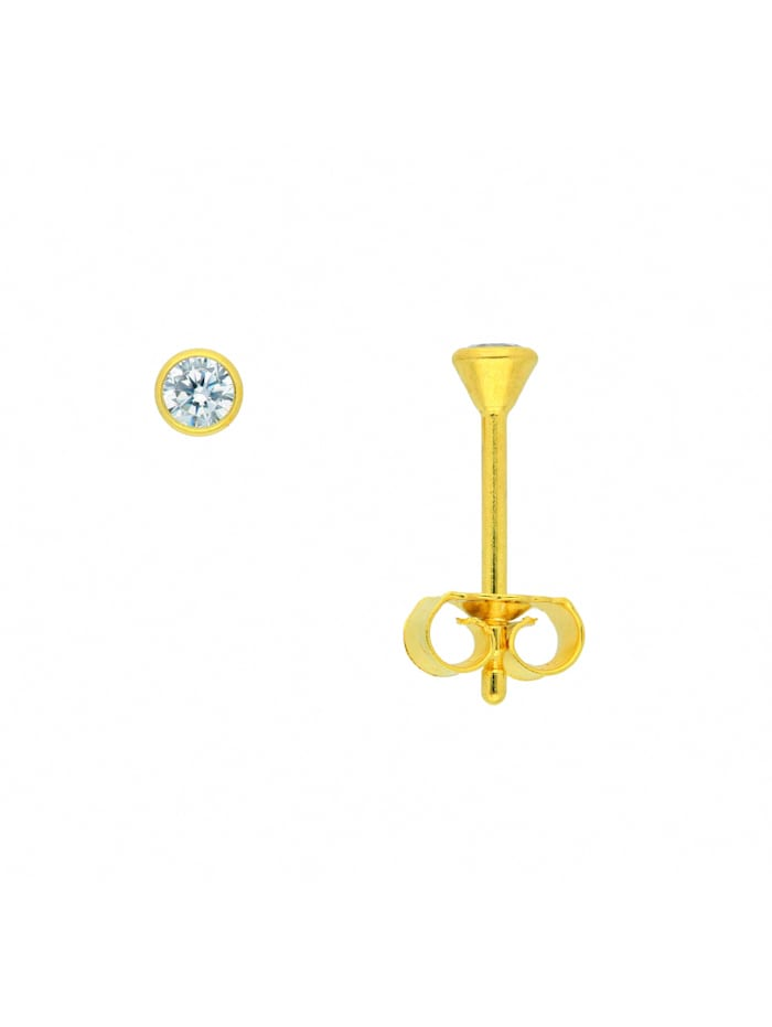 1001 Diamonds Damen Goldschmuck 585 Gold Ohrringe / Ohrstecker mit Zirkonia Ø 3 mm, gold