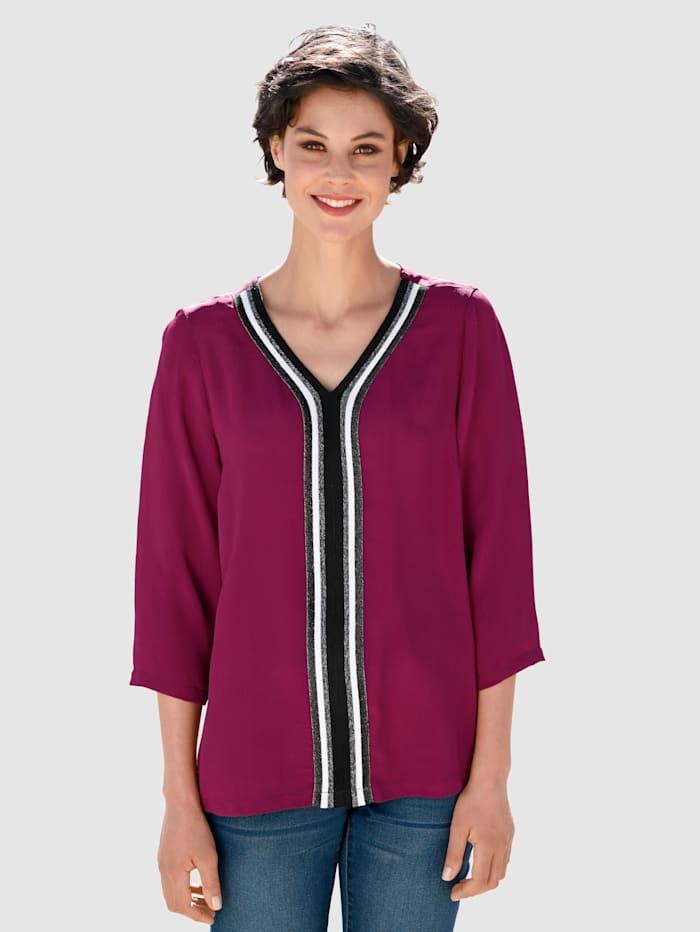 Dress In Bluse mit dekorativem Tape, Fuchsia