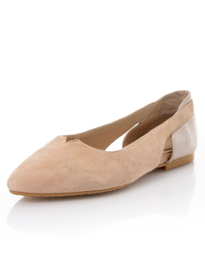 Alba Moda Ballerinaskor i spetsig modell, Beige