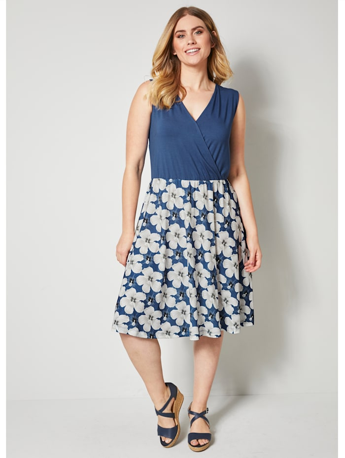 Sara Lindholm Jerseykleid mit Blumendruck, Blau/Ecru