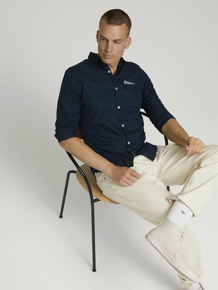 Tom Tailor Slim Fit Hemd mit Brusttasche, Dark Blue