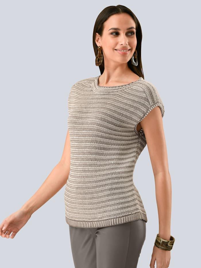 Alba Moda Pullover in aufwendigem Strukturstrick, Taupe/Off-white