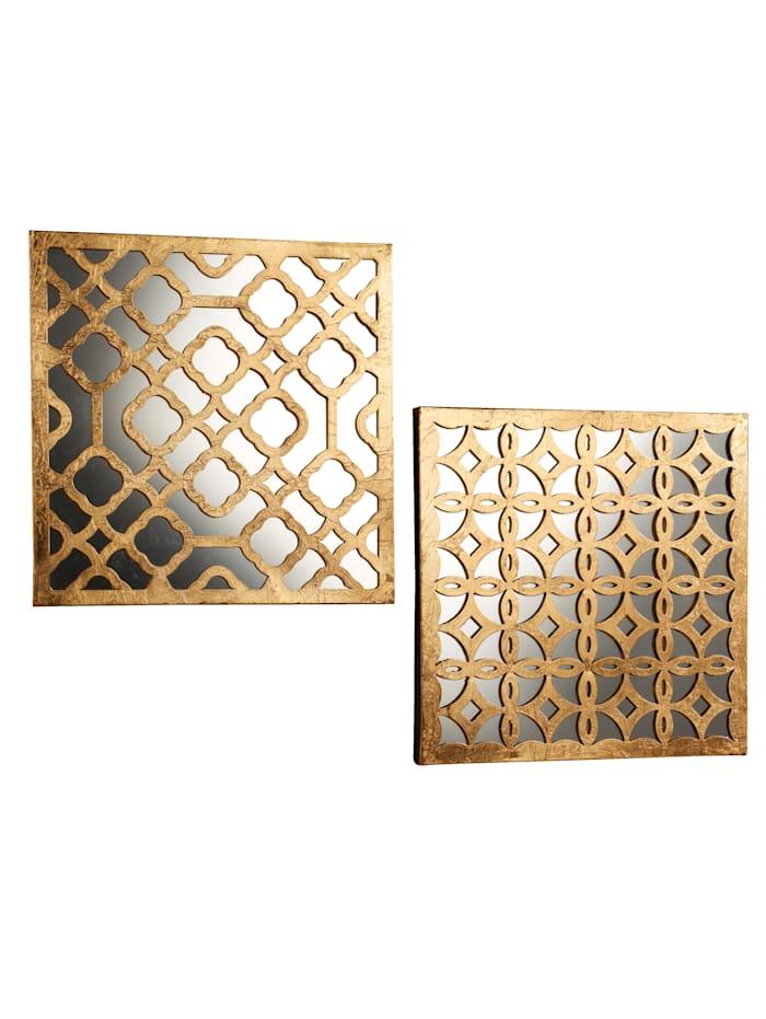 Spiegel mit Deko 2er Set, Gold