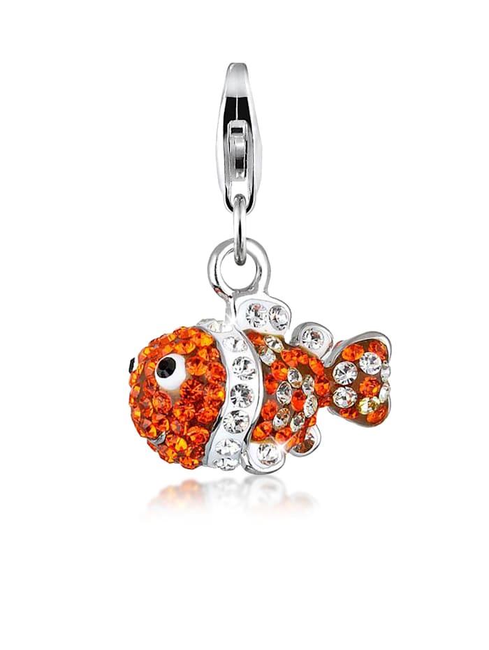 Nenalina Charm Fisch Meer Bunt Swarovski® Kristalle 925 Silber, Orange